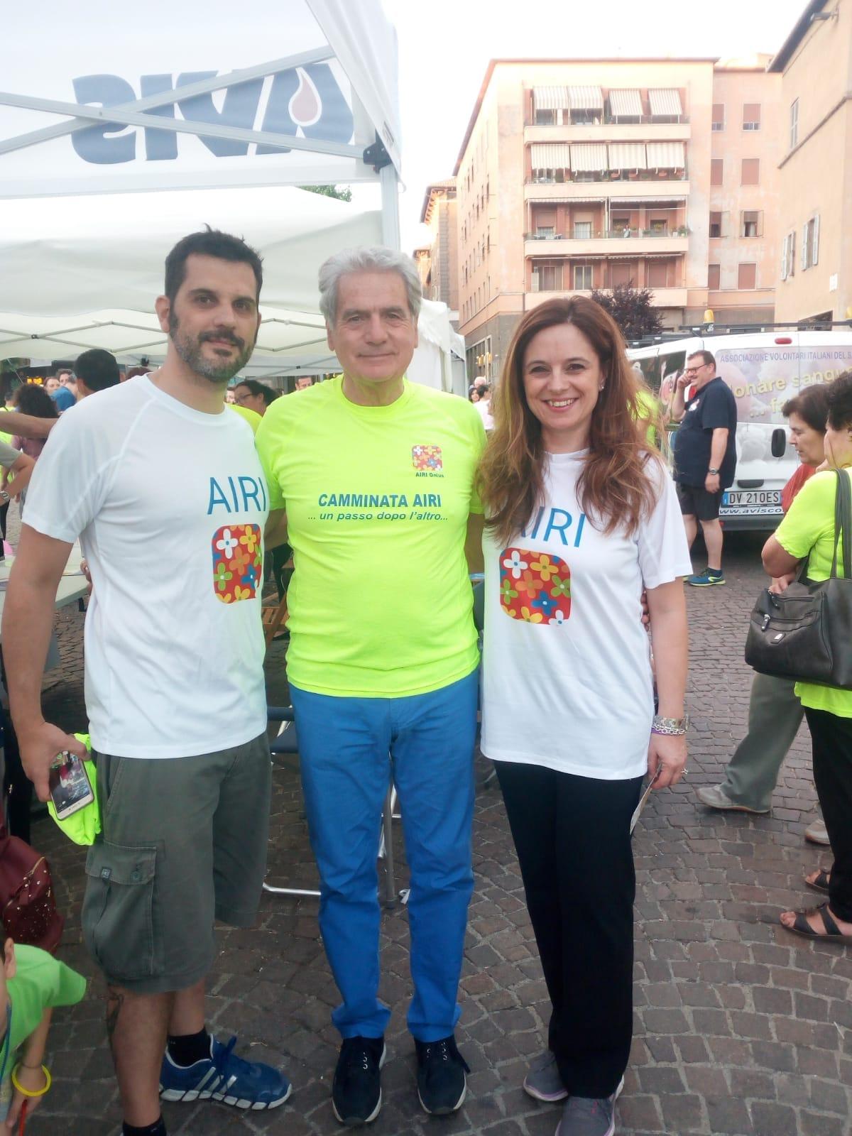 Claudio Pagliarello e Francesca Brodo (vicepresidente Airi) con il sindaco di Viterbo Giovanni Arena